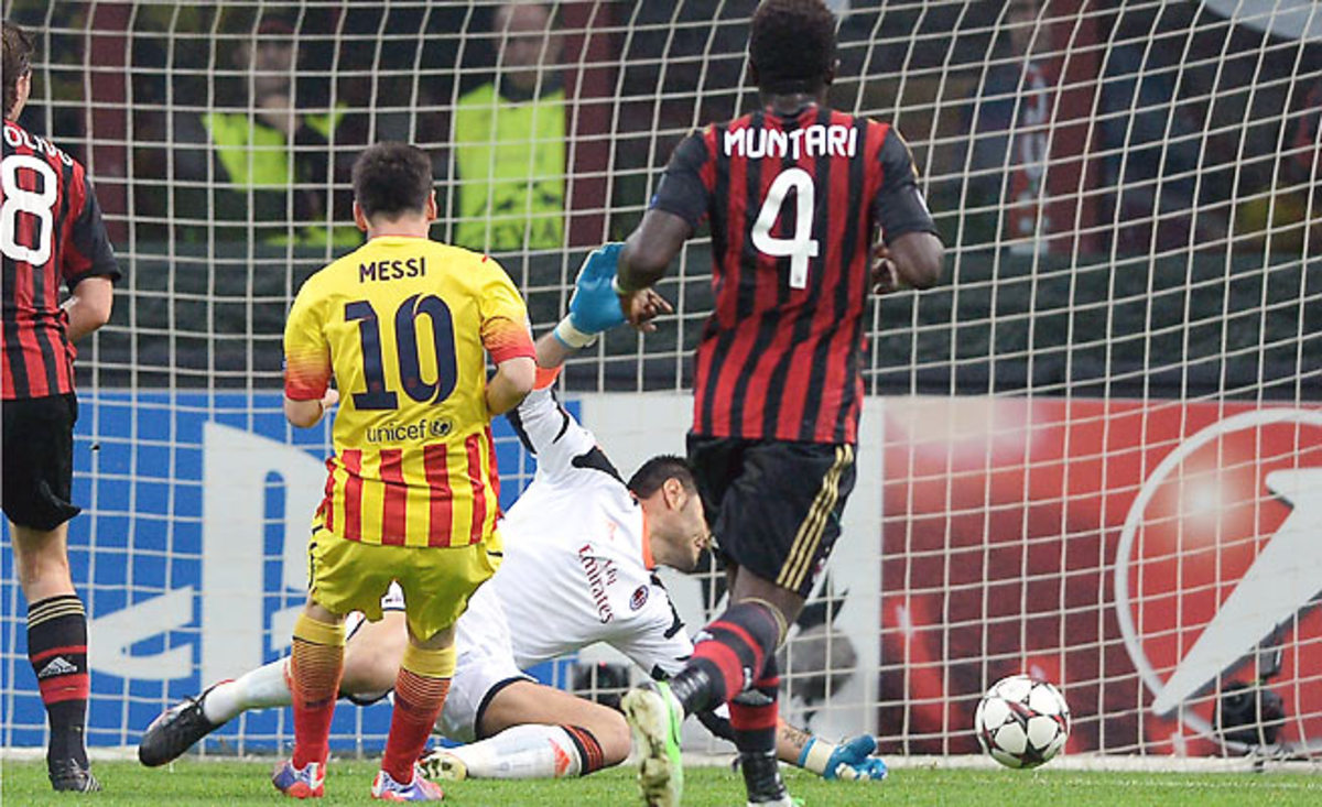 Lionel Messi found space in the box and beat Marco Amelia in the 22nd minute to even the score 1-1.