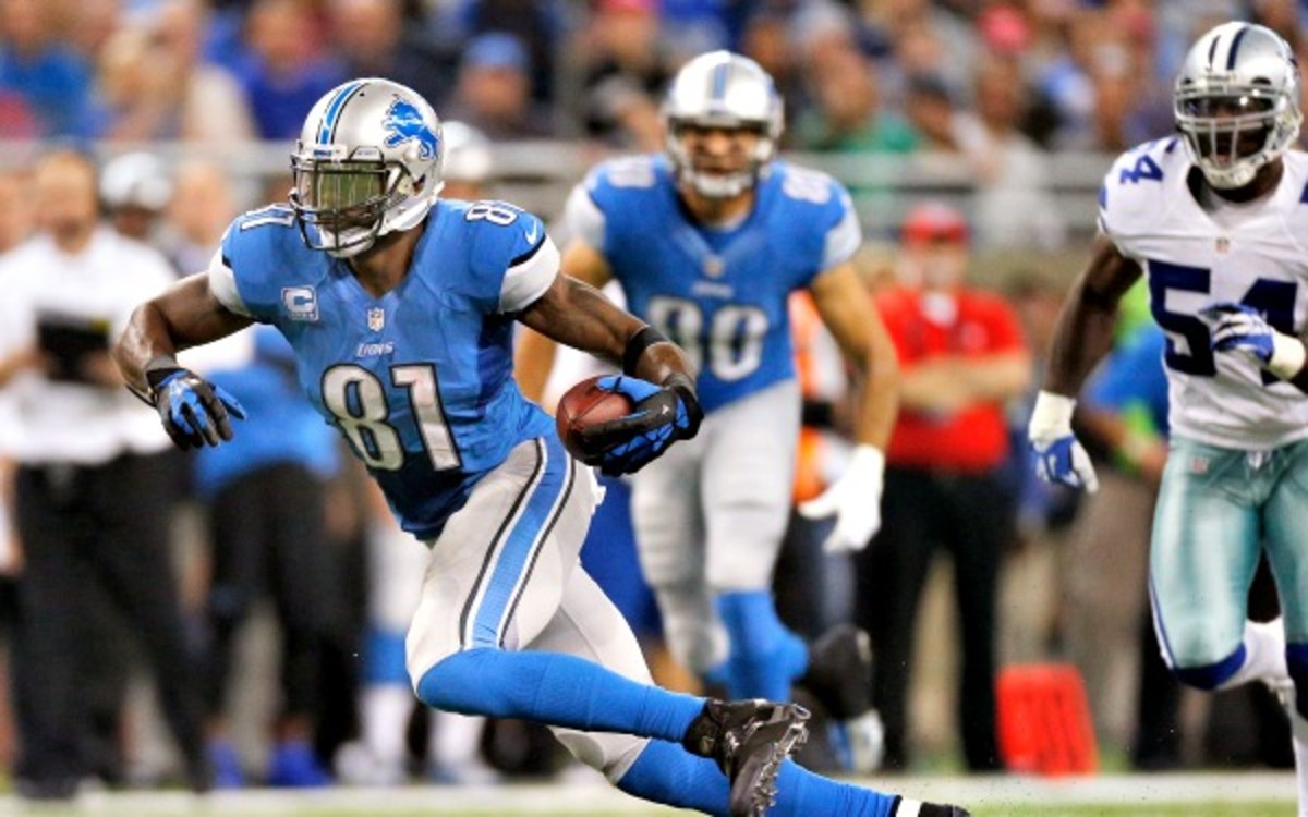 Detroit wideout Calvin Johnson leads the NFL with 821 receiving yards. (Gregory Shamus/Getty Images)