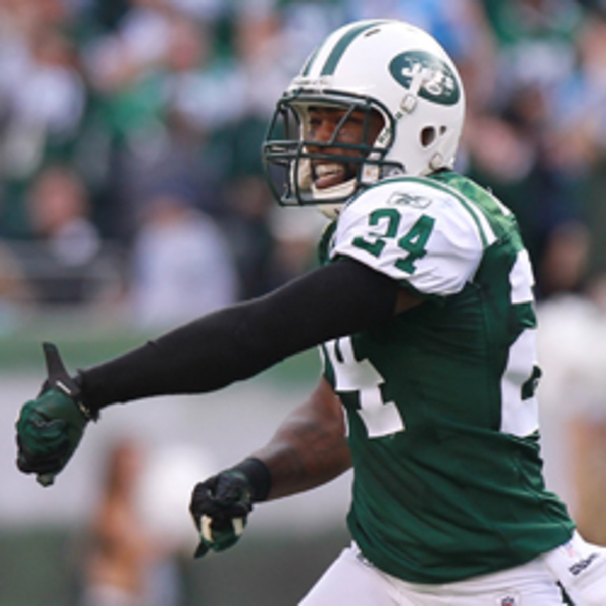 Jets cornerback Darrelle Revis says he needs answers as his name has been involved in trade rumors. (Nick Laham/Getty Images)