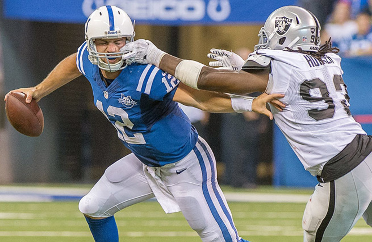 Andrew Luck was sacked four times in the Colts' season-opening win over the Raiders.