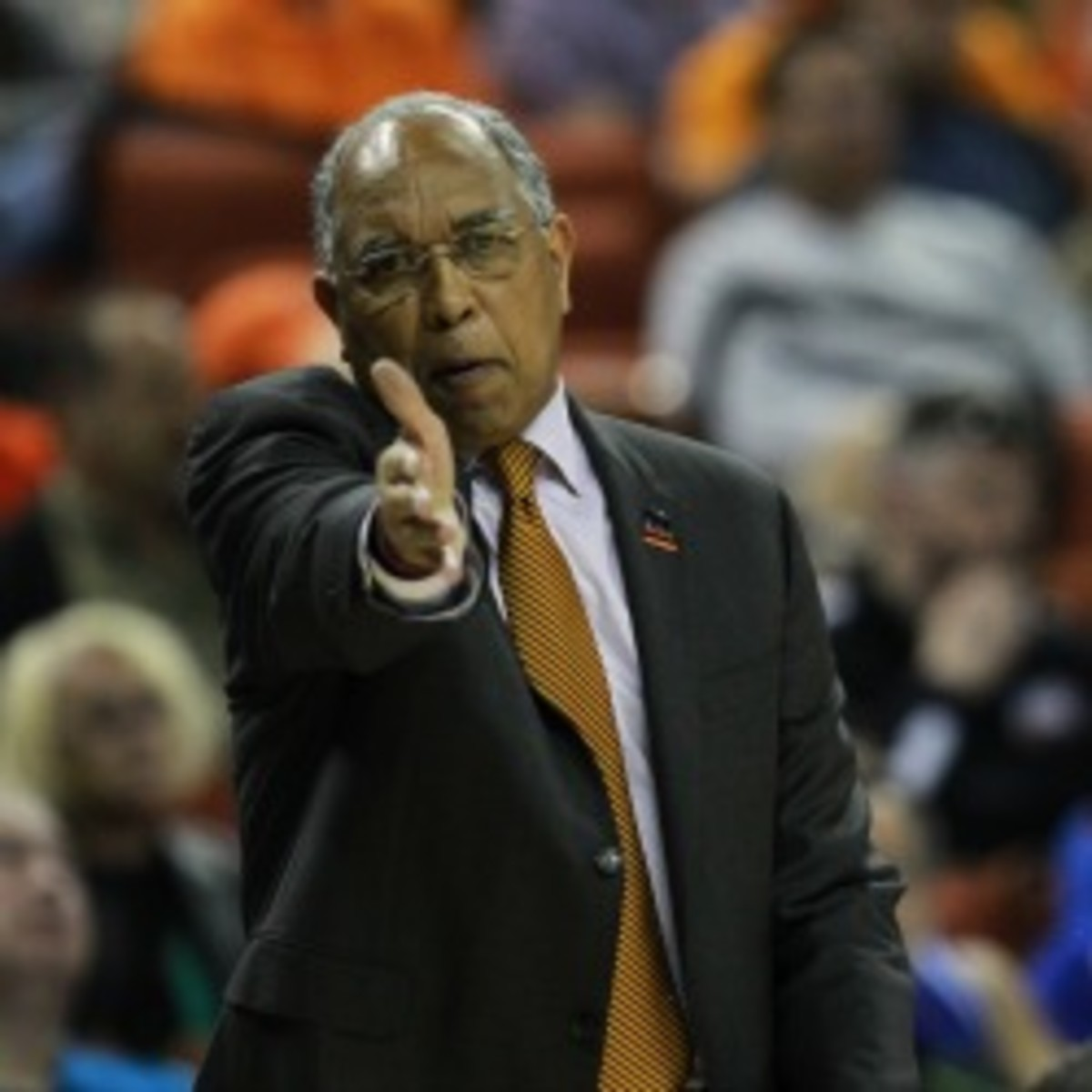 Tubby Smith reacts to a call against Florida in the 2013 NCAA tournament. (Photo by Ronald Martinez/Getty Images)
