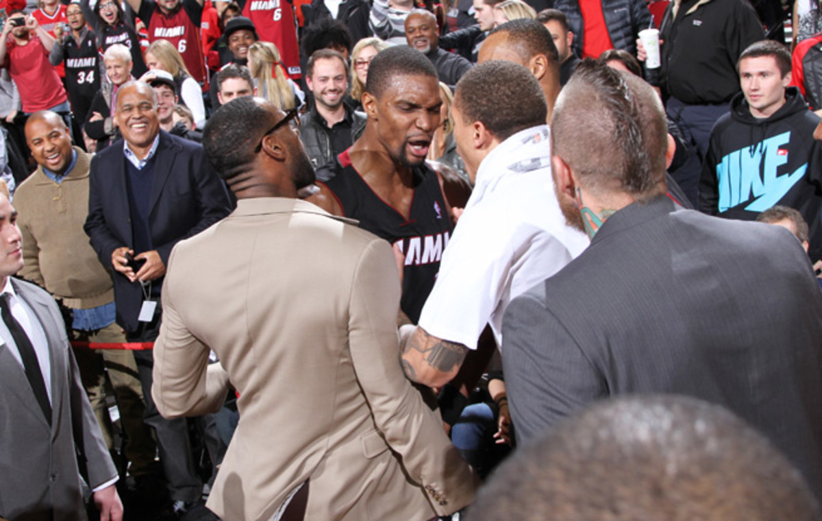 Chris Bosh scored 37 points and hit the game-winning three-pointer to down the Blazers on Saturday.