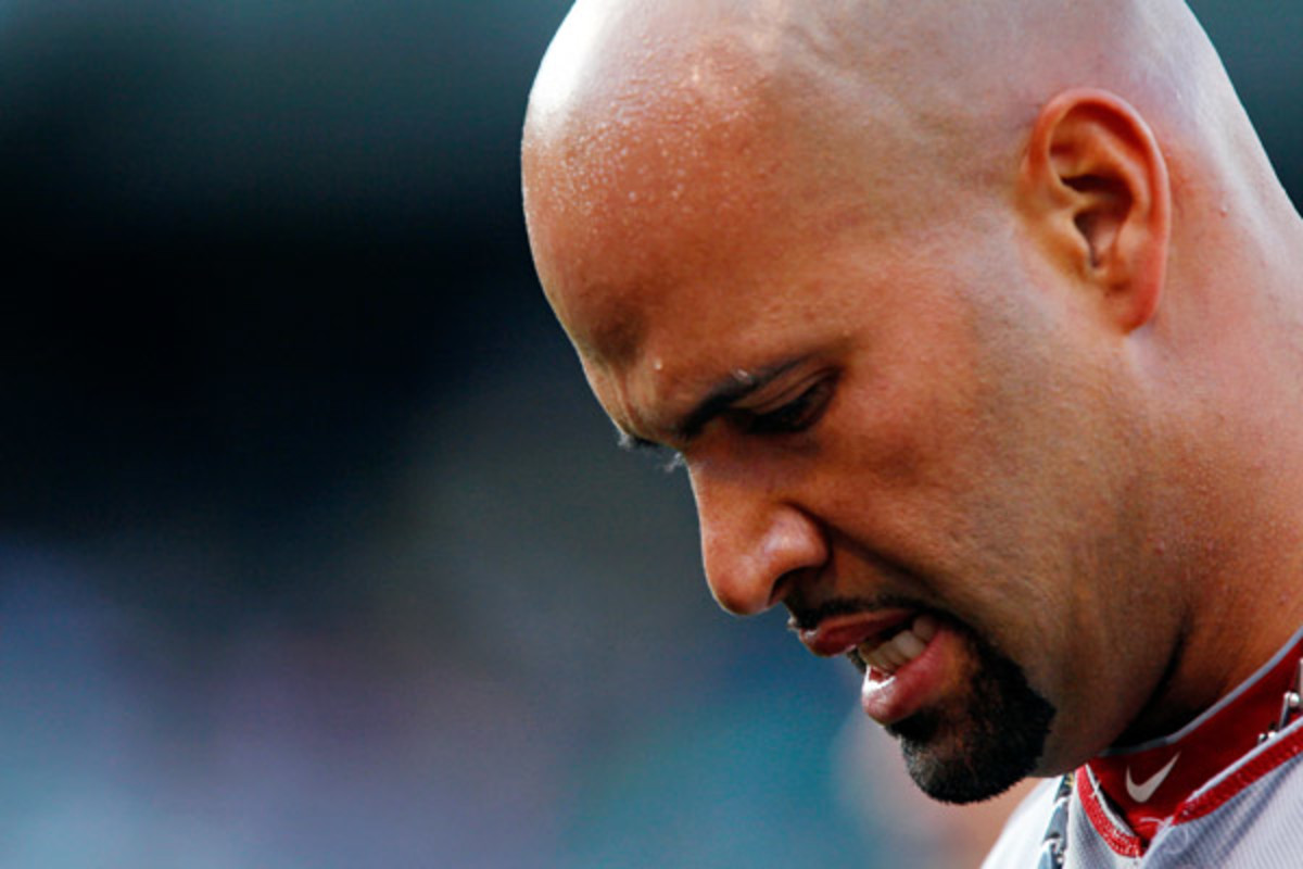 Albert Pujols could miss the rest of the season because of a ligament tear in his foot. (Brian Bahr/Getty Images)