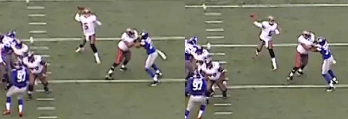 Freeman is off-balance and wide when he should be straight.