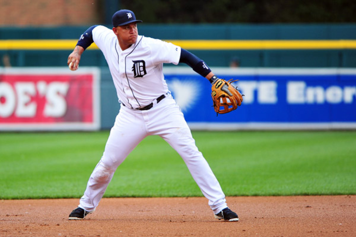 Third baseman Miguel Cabrera made two throwing errors against the Angels on Tuesday. (Steven King/Icon SMI)