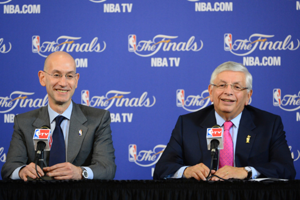 David Stern (right) and Adam Silver (left) announced that the NBA will change its Finals format in 2014. (Garrett Ellwood/Getty Images)