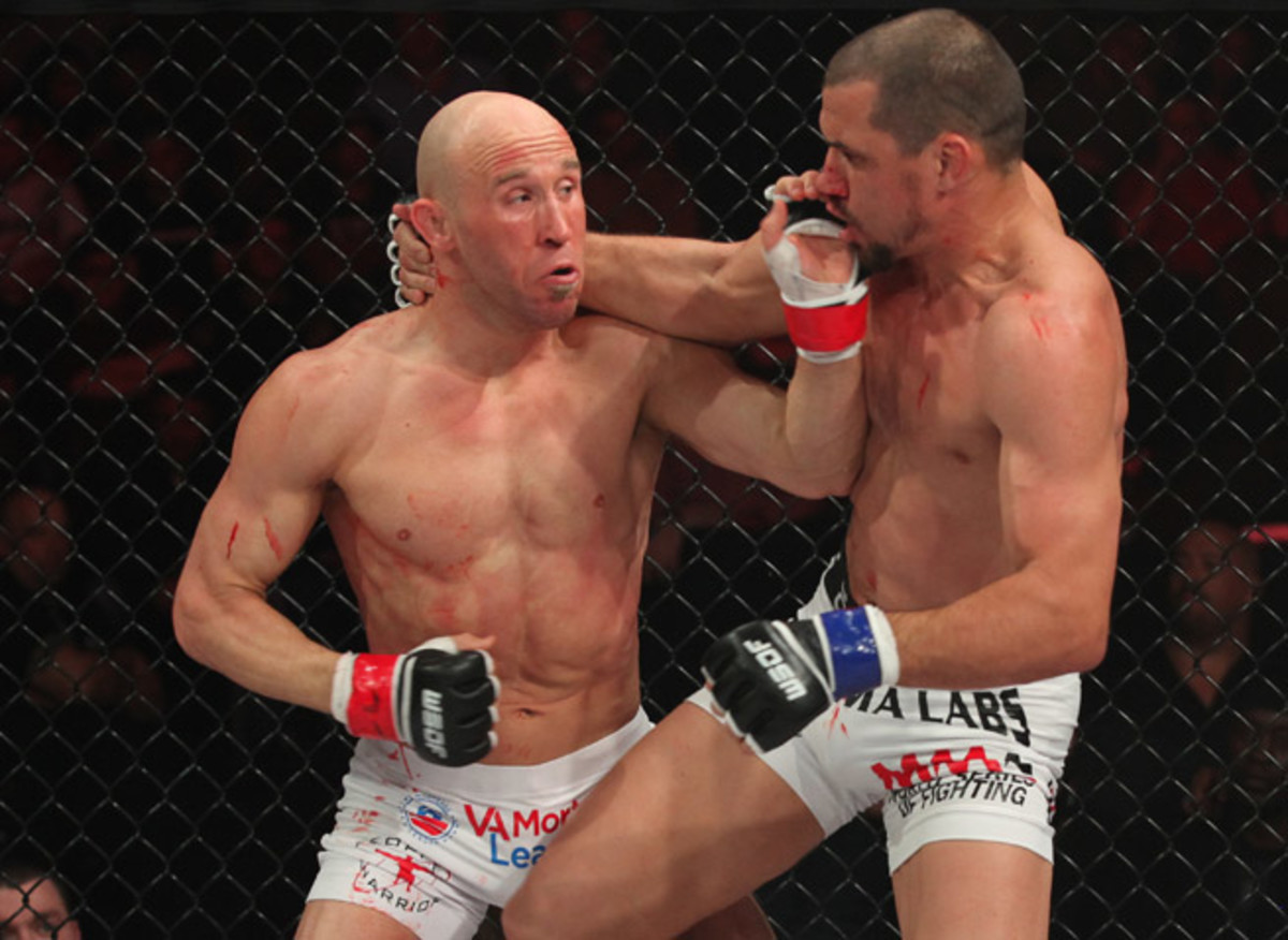 Josh Burkman (left) knocked out UFC vet Aaron Simpson in the first round at WSOF 2 in March.