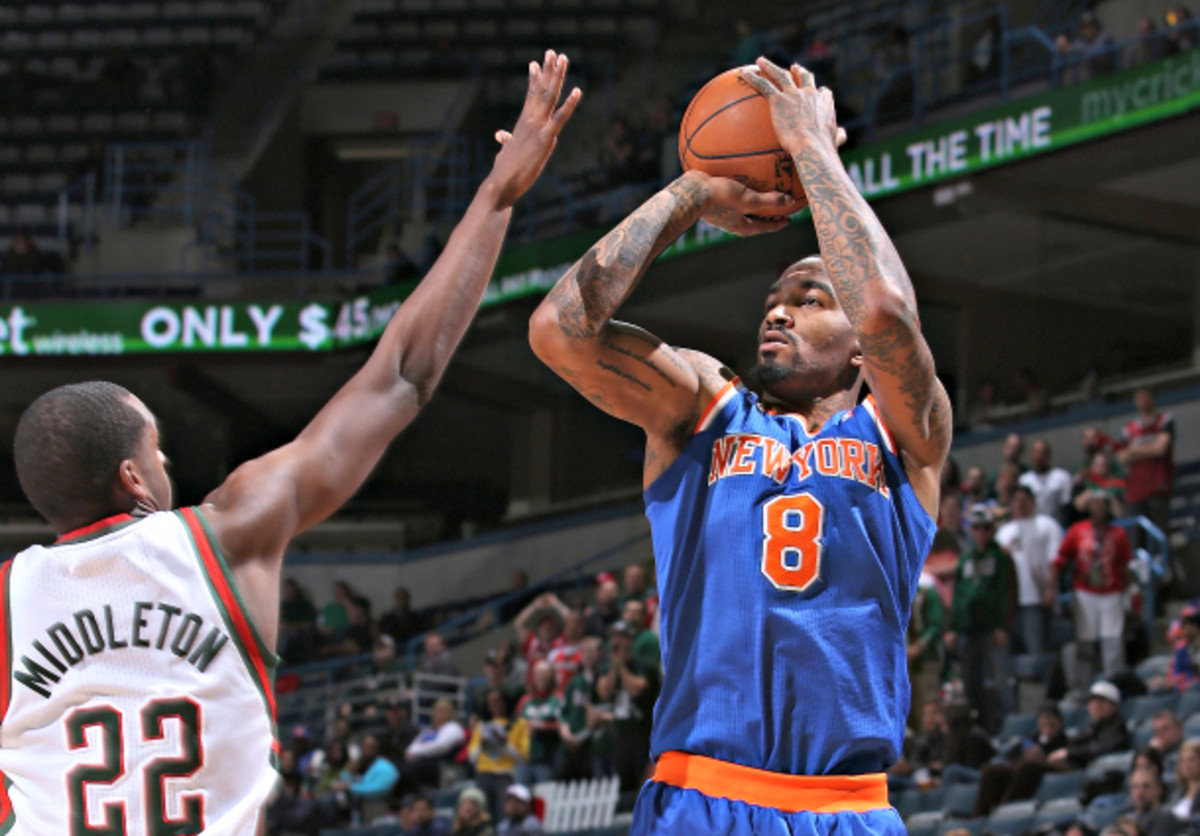 The lasting, indelible image of New York's win over Milwaukee on Wednesday: That of J.R. Smith firing up yet another three-pointer. (Gary Dineen/NBAE via Getty Images)