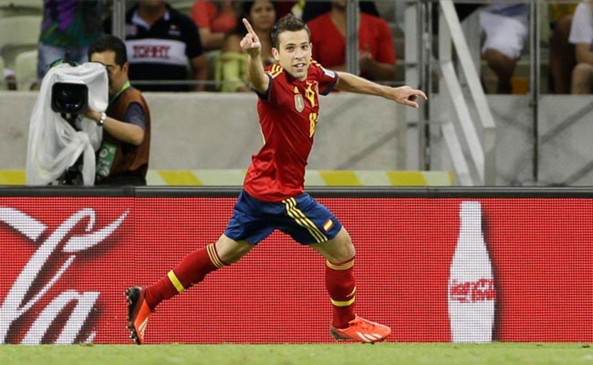 Jordi Alba celebrates after scoring his second goal against Nigeria on Sunday.