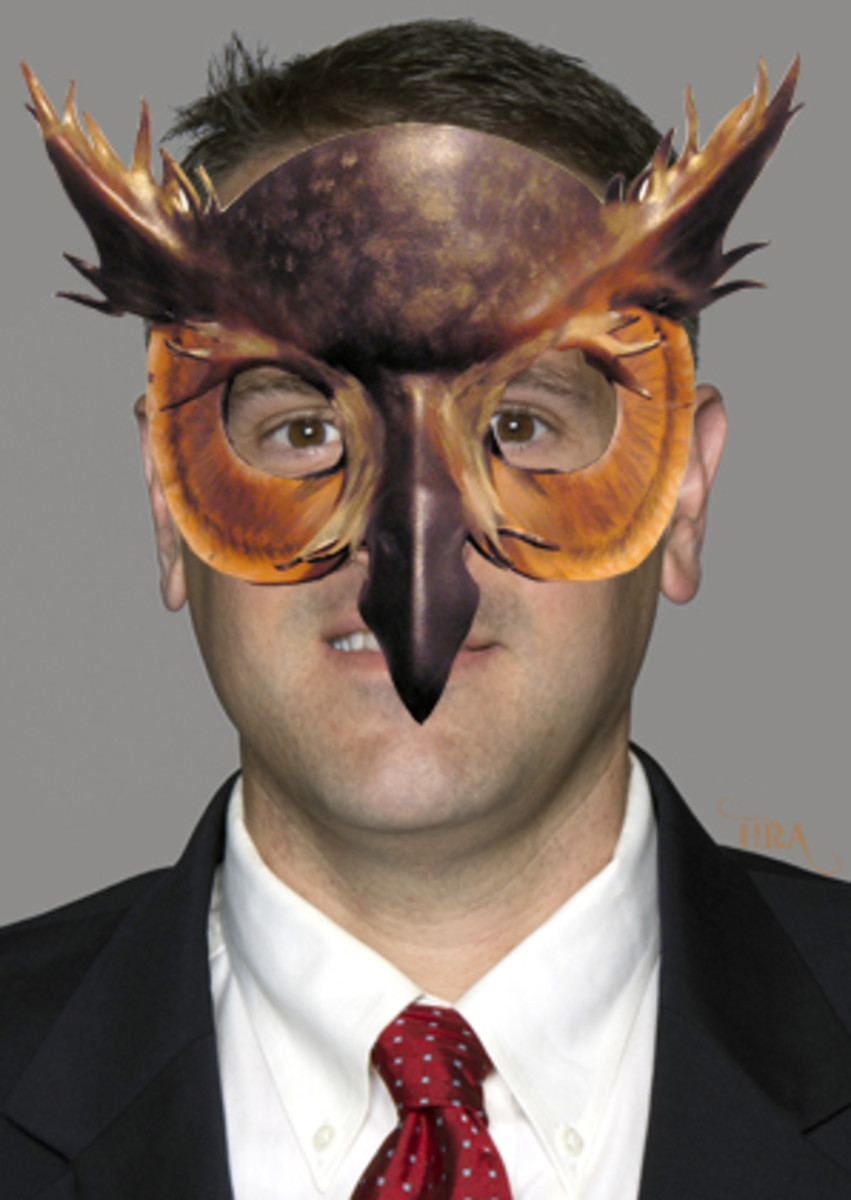 Matt Rhule does not wear this owl mask in real life, but you wouldn't know that without this helpful caption. (AP)