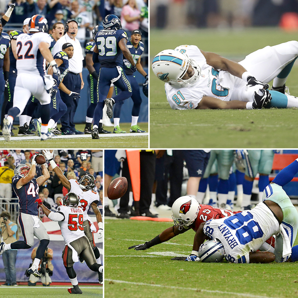Brandon Browner's 106-yard fumble return (top left) and Zach Scudfeld's two-point converstion catch (bottom left) marked the good of preseason's second week; while Dustin Keller's likely season-ending knee injury (top right) and Dez Bryant's fumble after a 27-yard catch (bottom right, one of the Cowboys' six turnovers on the day) marked the bad. (Otto Greule Jr/Getty Images :: Eric Gay/AP :: Daniel Wallace/MCT/ZUMAPRESS.com :: Norm Hall/Getty Images)