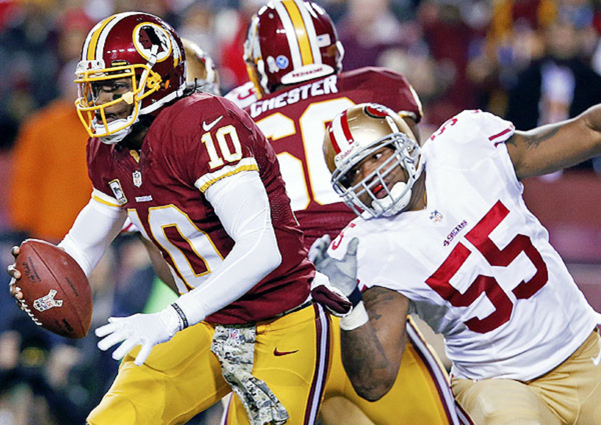Robert Griffin III threw for a season-low 127 yards against the 49ers Monday night.