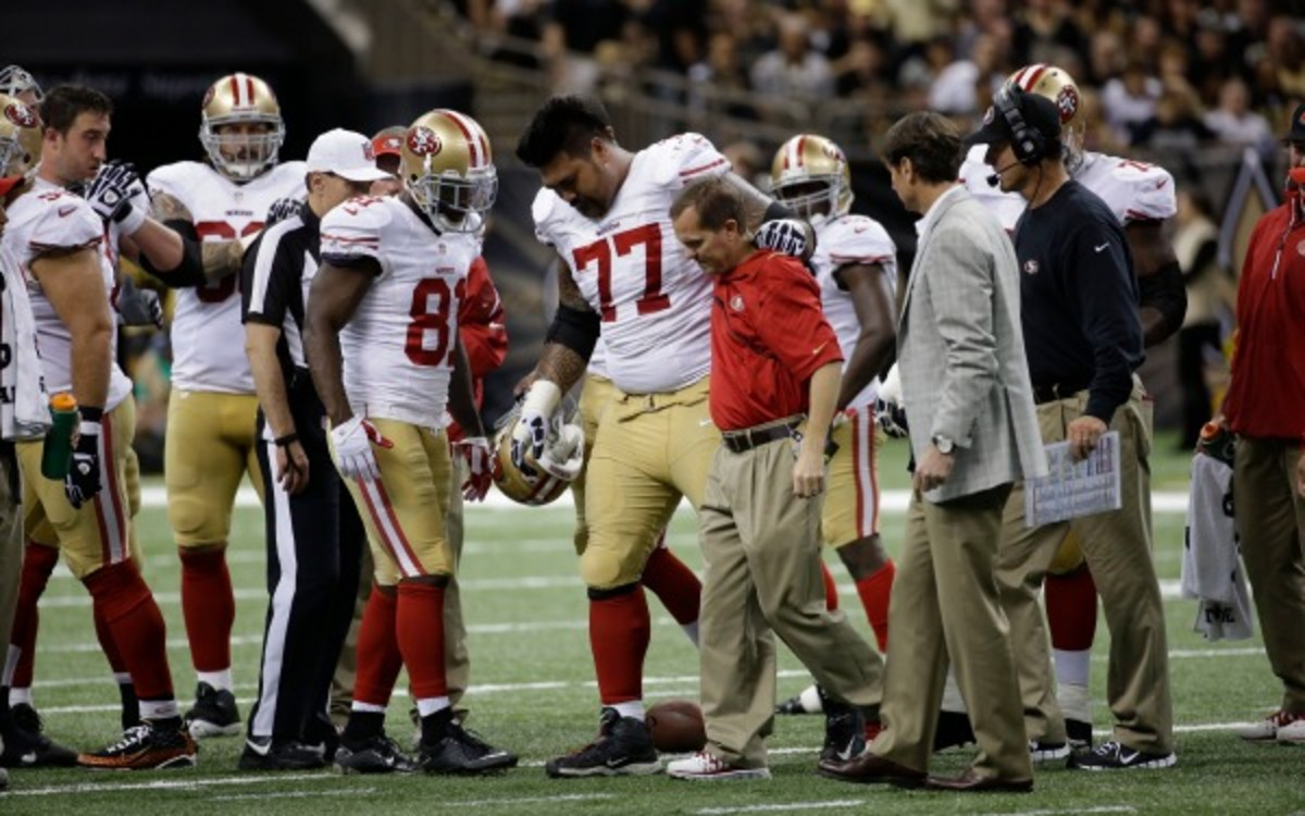 49ers guard Mike Iupati has started every game in his four-year NFL career. (AP Photo/Dave Martin)