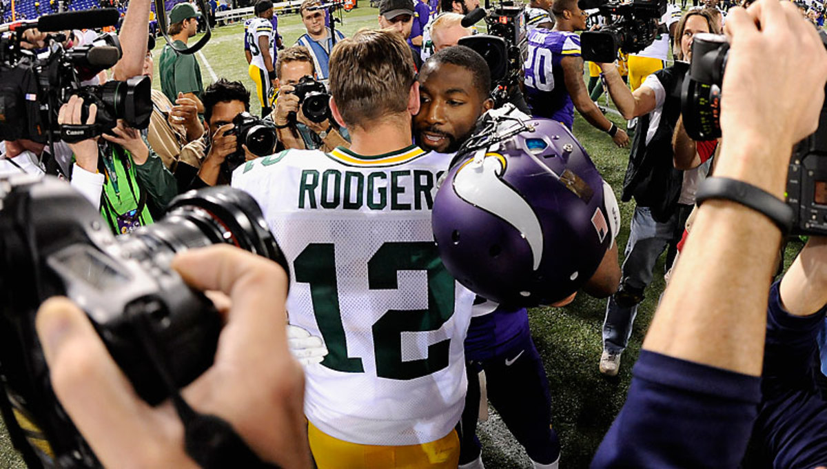Greg Jennings took what were interpreted as varying shots at Aaron Rodgers and the Packers this offseason after signing with the Vikings. (Hannah Foslien/Getty Images)