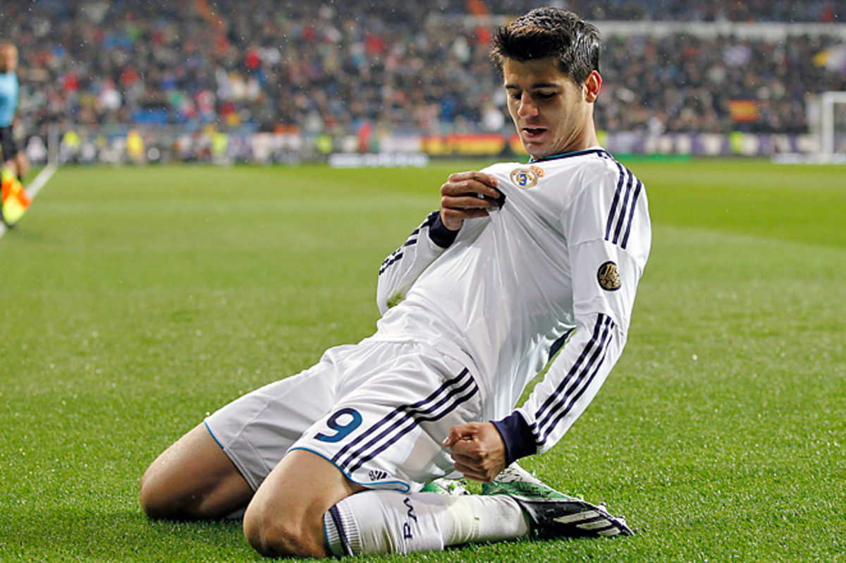 Real Madrid's Alvaro Morata celebrates after scoring the opening goal against Rayo Vallecano.