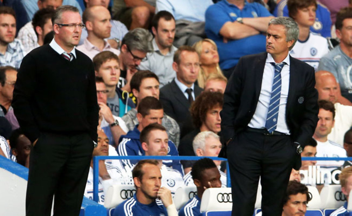 Jose Mourinho (right) spoke to the media after Chelsea's 2-1 win over Aston Villa on Wednesday.