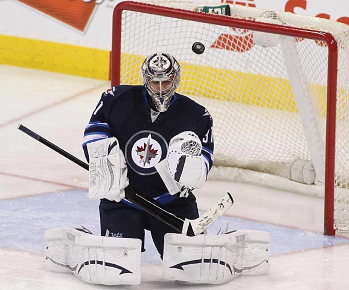 Ondrej Pavelec of the Winnipeg Jets