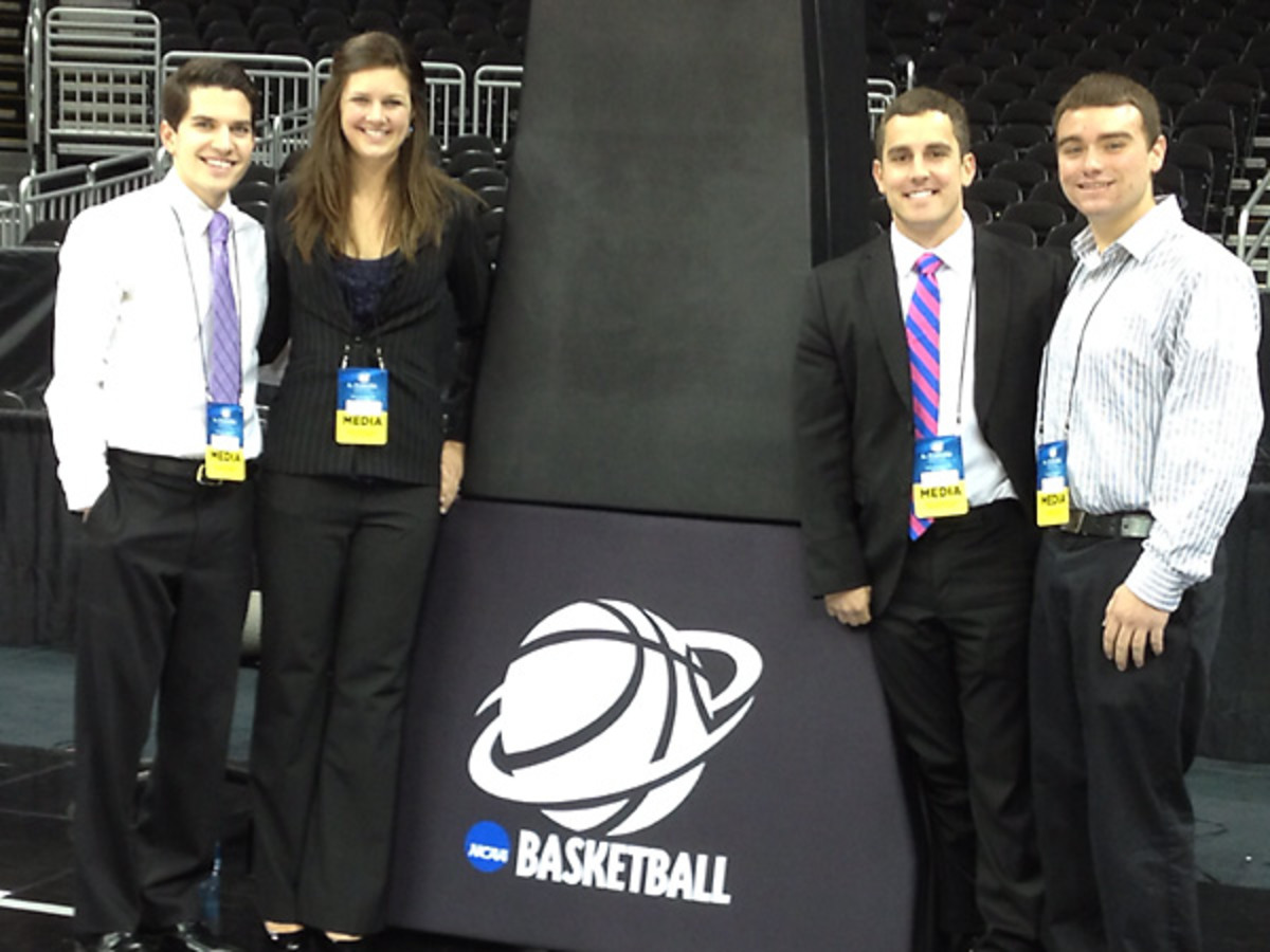 La Salle student journalists David Grzybowski, Rachel Finkbeiner, Mike McCoy and Andrew Albert at the Sprint Center in Kansas City. [Mike McCoy]