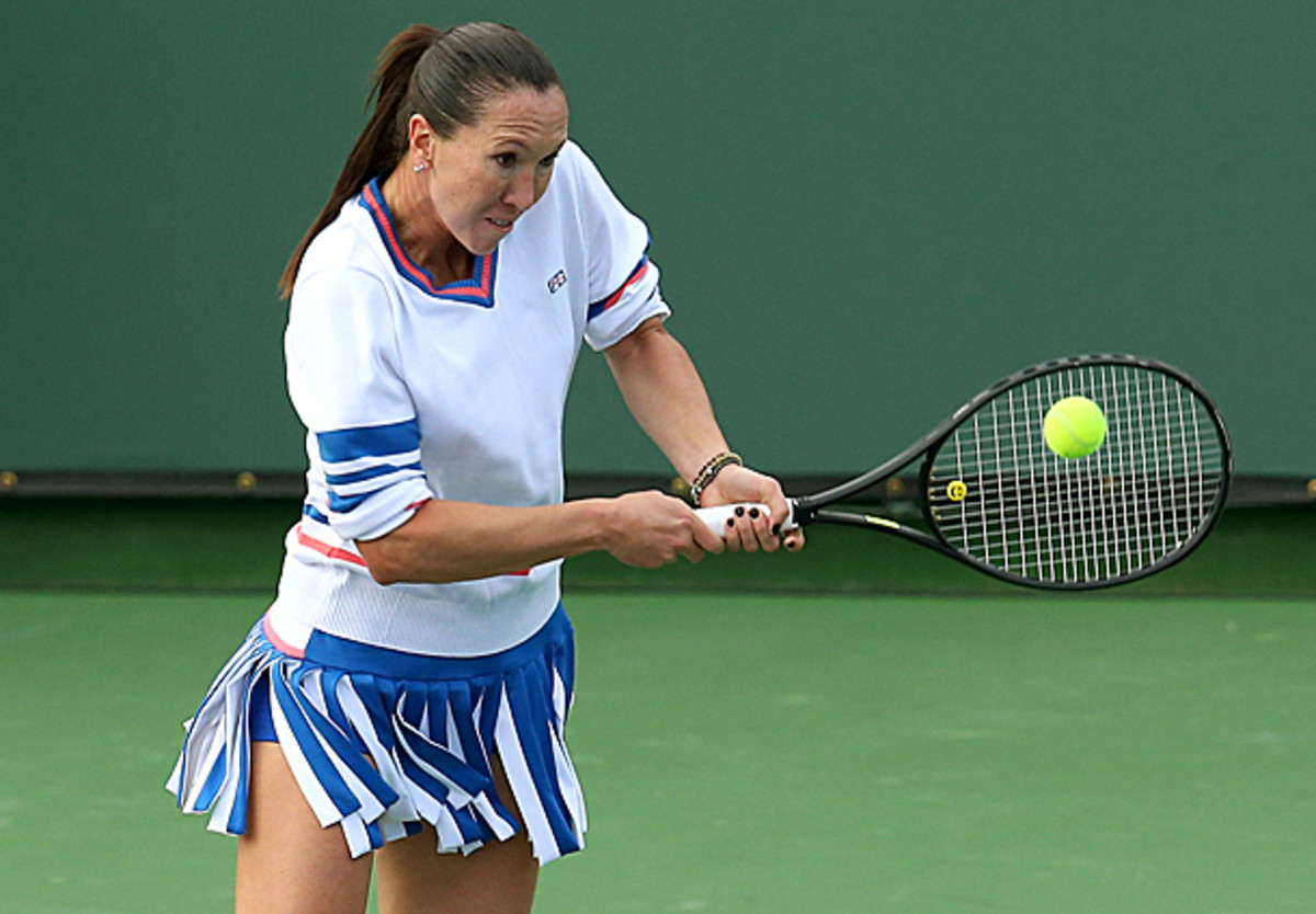 Jelena Jankovic's outfit for Indian Wells was not a fashion ace this year. (Stephen Dunn/Getty Images)