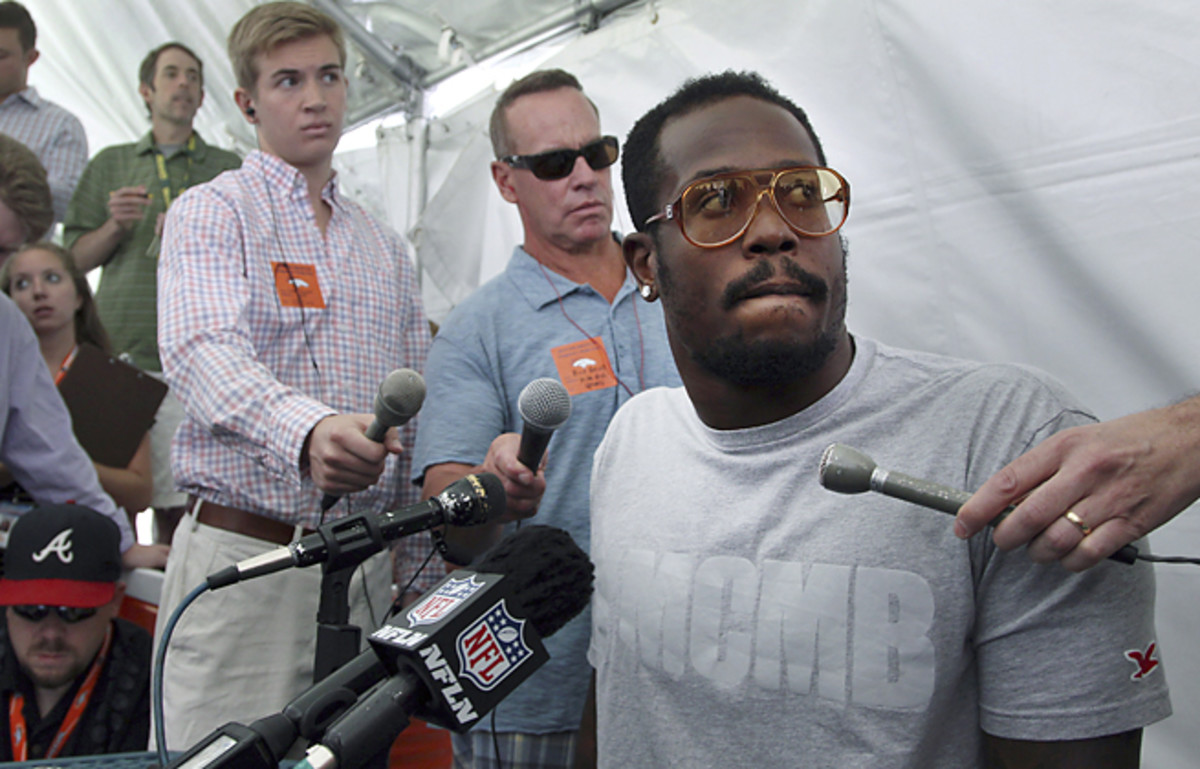 Von Miller said little to reporters about his appeal of a four-game suspension handed him by the NFL.