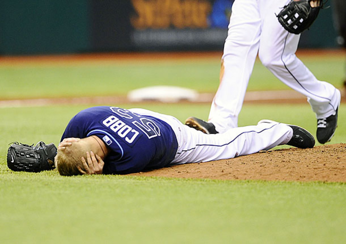 Tampa Bay's Alex Cobb is just the latest in a host of pitchers to be injured off a hit. (Brian Blanco/AP)