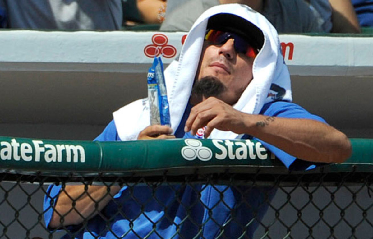 Matt  Garza hasn't pitched in the majors this season after suffering a strained back muscle in spring training.