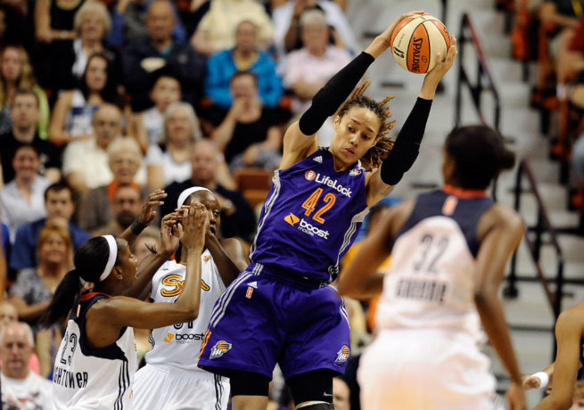 Brittney Griner is averaging 14.9 points and 6.4 rebounds per game in her first season with Phoenix.