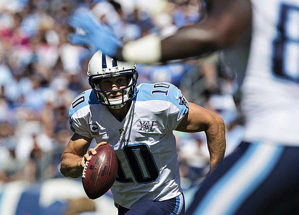 A year after posting a 74.0 QB rating, Jake Locker is passing at a 89.8 clip so far this season. (Wesley Hitt/Getty Images)