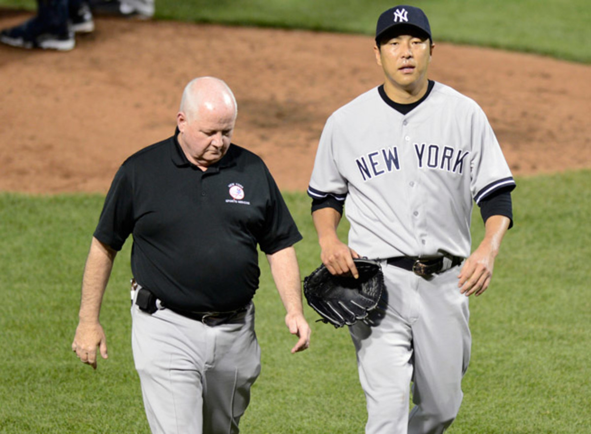 Hiroki Kuroda gave up five runs and eight hits in an abbreviated two-plus inning start against Baltimore.