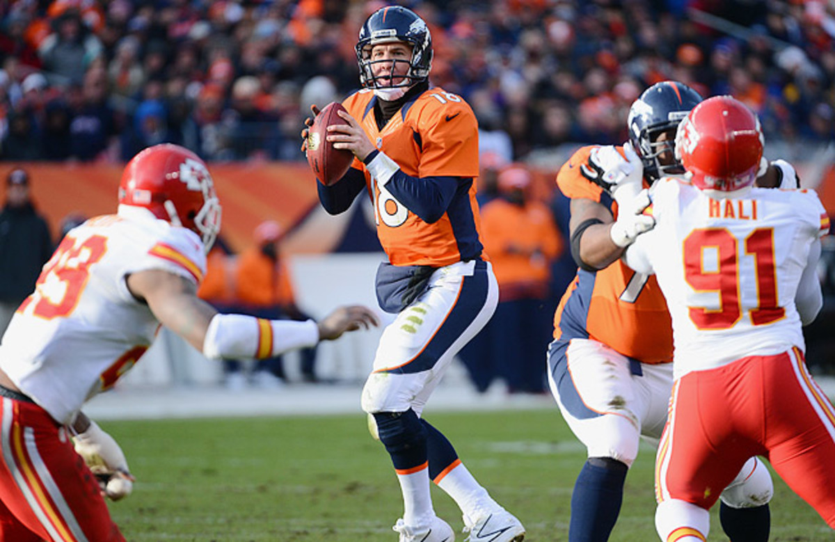 Peyton Manning and the Broncos will look to make up ground in the AFC West against the Chiefs Sunday night.