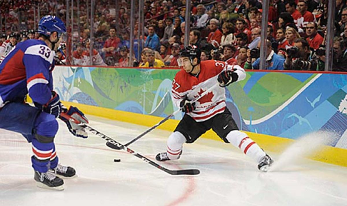 Patrice Bergeron of the Boston Bruins playing for Team Canada at the 2010 Winter Olympics.