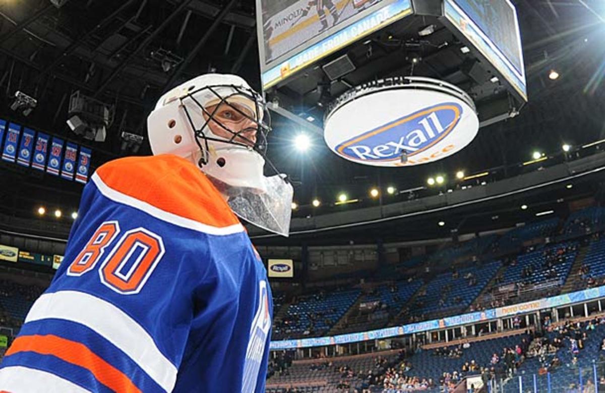 Ilya Bryzgalov dressed for his first NHL game as an Edmonton Oiler.