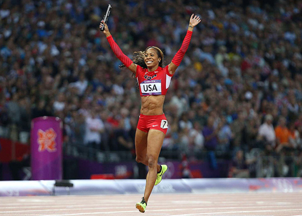 Sanya Richards-Ross celebrates after anchoring the U.S. women's 4x400m relay, which won gold.