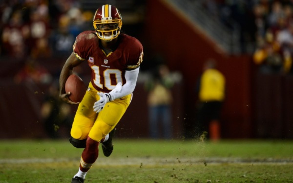 Robert Griffin III's rehab is going well, according to his father. (Photo by Patrick McDermott/Getty Images)
