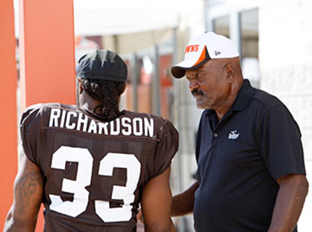 Richardson talking to Jim Brown at training camp this year. (John DePetro/SI)