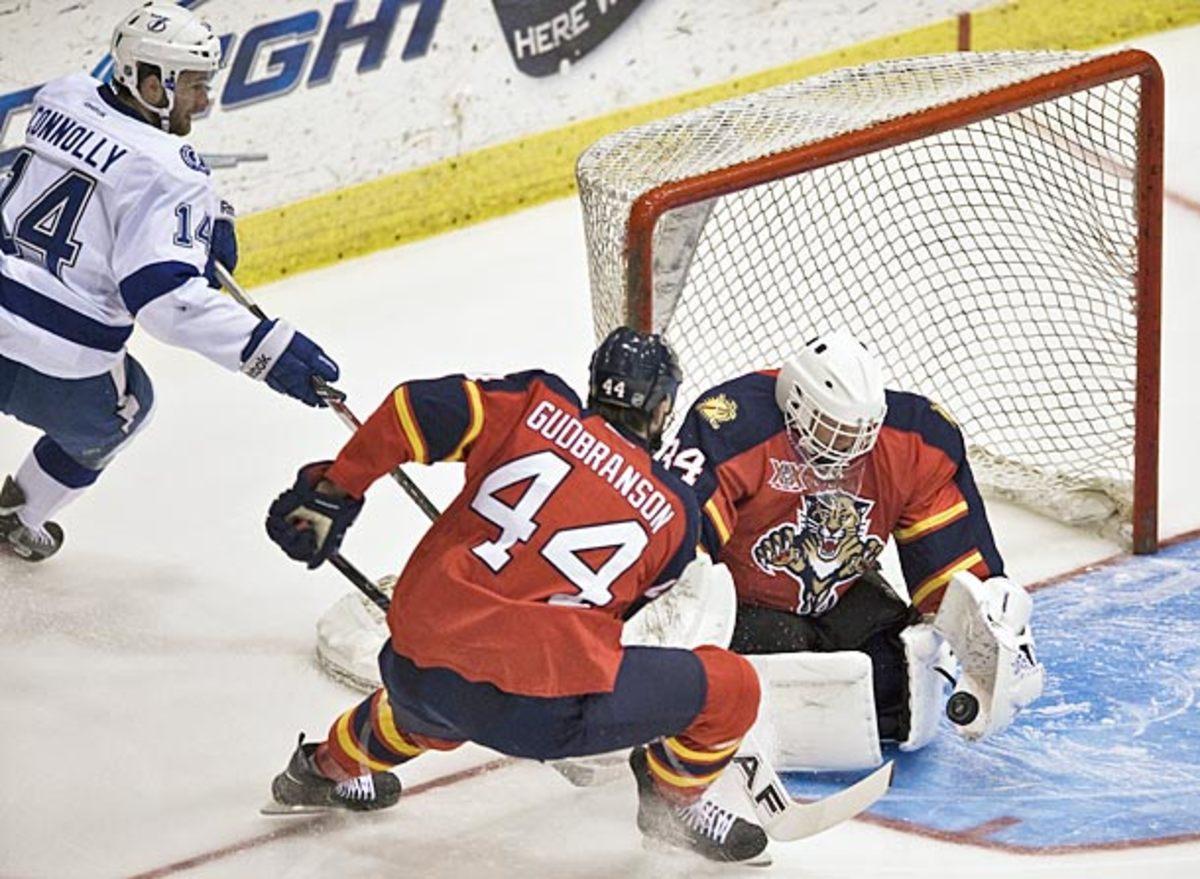 Goaltender Tim Thomas makes his NHL debut with Florida Panthers.