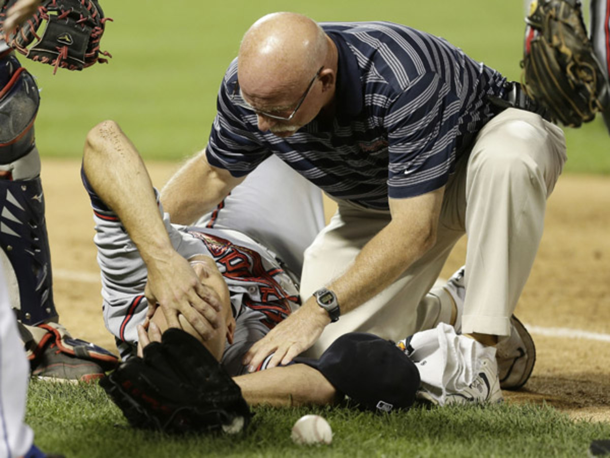 Tim Hudson is out for the year after breaking his ankle Wednesday night on a play at first base.