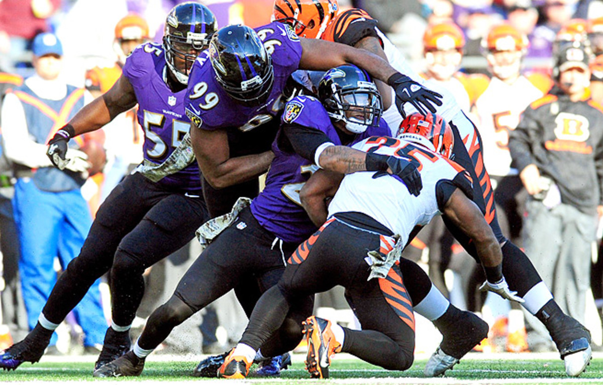 The Baltimore defense held Giovani Bernard to just 58 rushing yards on 14 attempts in Week 10.