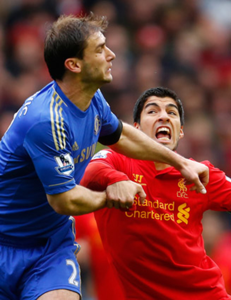 Luis Suarez received a 10-game ban for biting Chelsea's Branislav Ivanovic last July. It was the second biting incident of his career.
