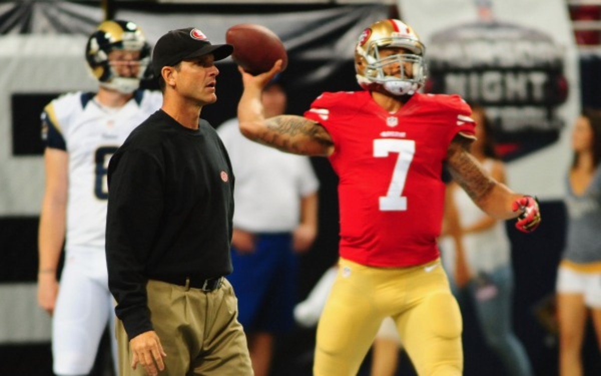 49ers quarterback Colin Kaepernick is second on the team with 335 rushing yards. (Michael Thomas/Getty Images)