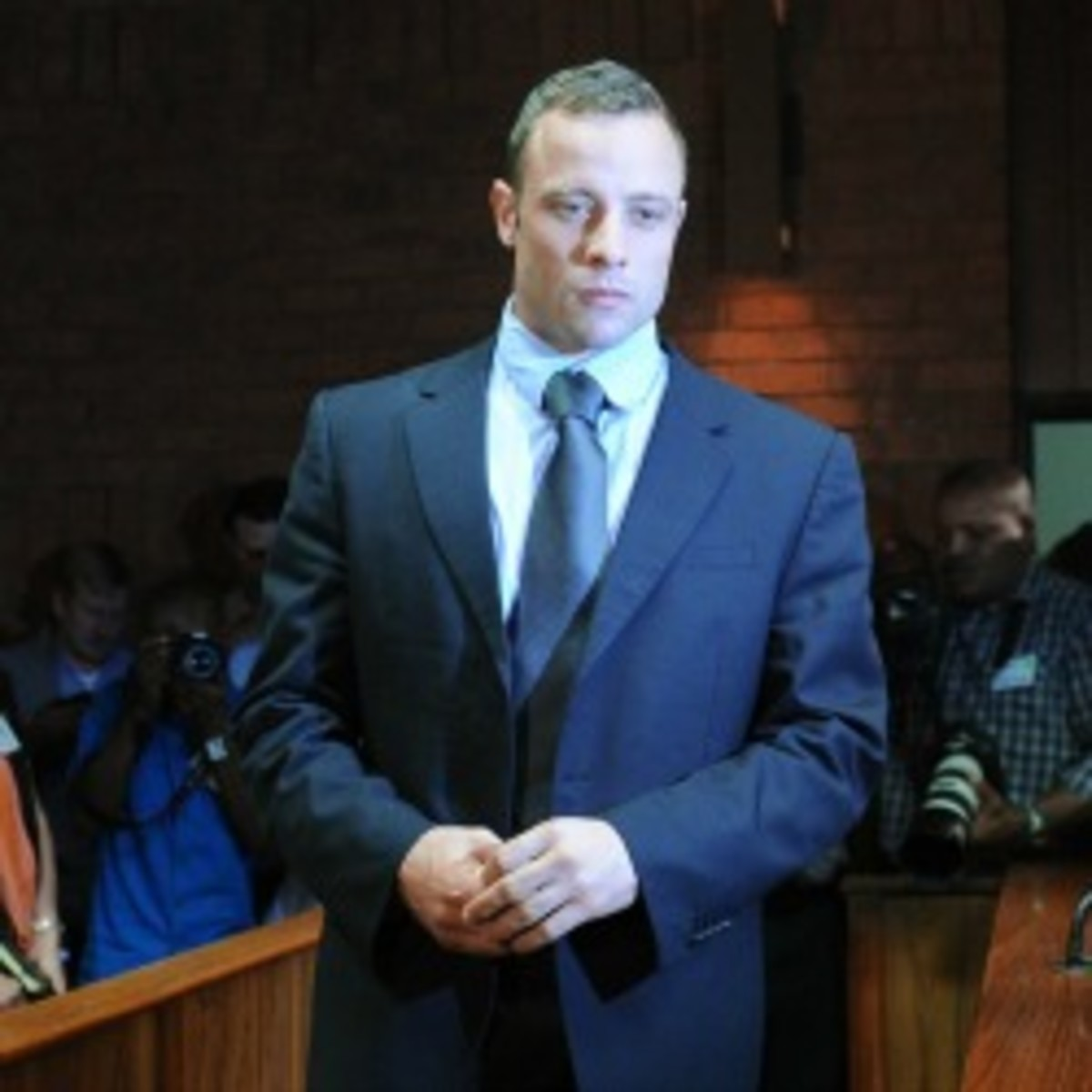 Oscar Pistorius reported to the authorities on Monday morning. His next court appearance is scheduled for June 4. (Alexander Joe/Getty Images)