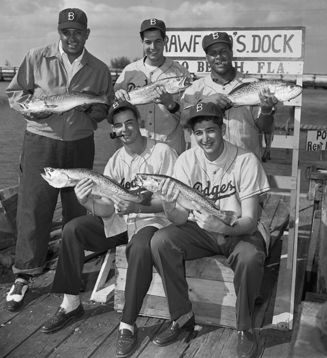 Don Newcombe, Steve Lembo, Roy Campanella, Tommy Brown and Jim Romano