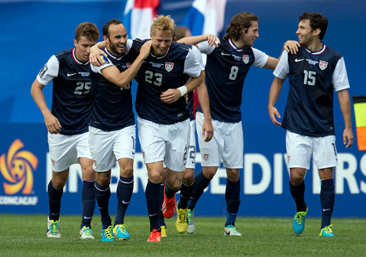 Brek Shea (third from left) capitalized on a neat buildup to score the winning goal for the United States.