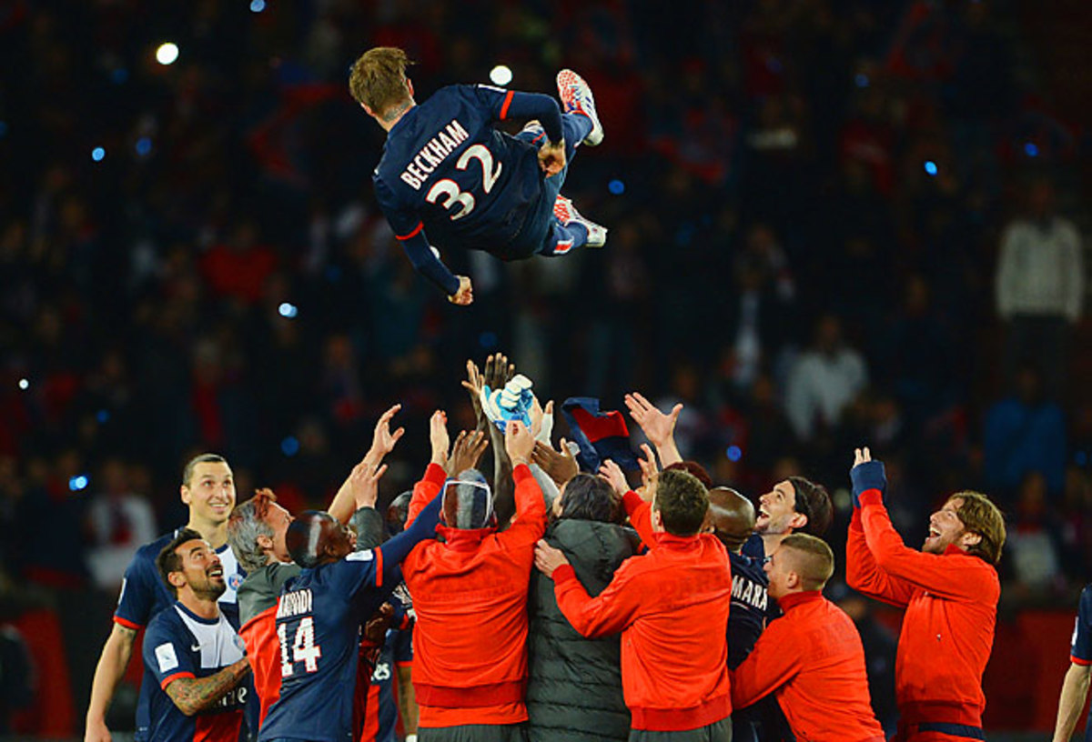 David Beckham was thrown into the air in celebration after his last professional match.