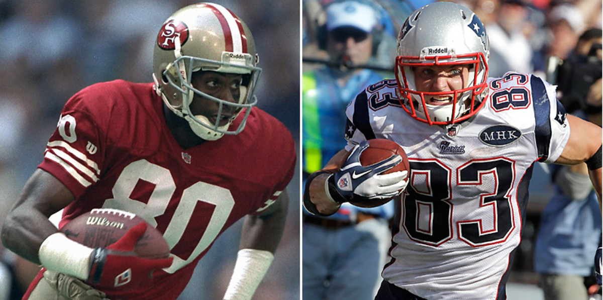 Jerry Rice owns almost every significant receiving record in NFL history, but Wes Welker has him beat in one category. (Peter Read Miller/SI & David Duprey/AP)