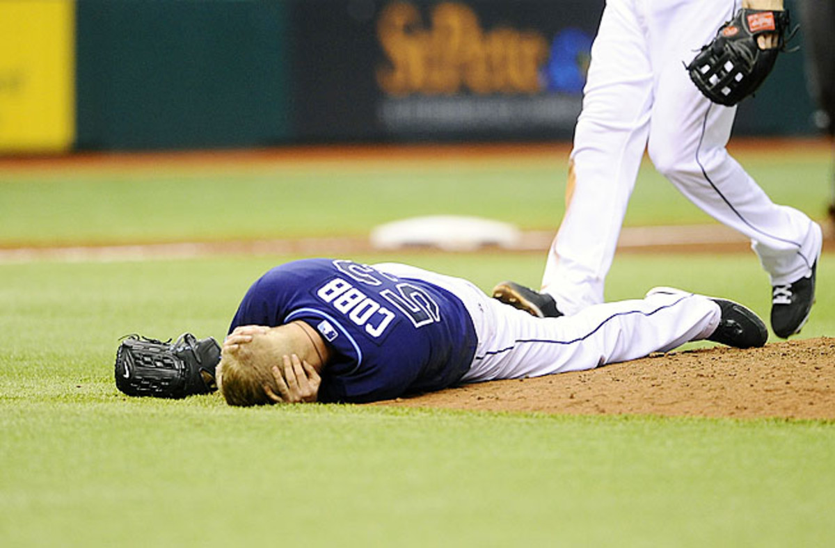 Alex Cobb was diagnosed with a concussion after being strike with a ball Saturday against the Royals.