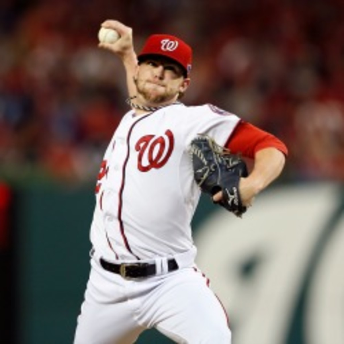 Nationals reliever Drew Storen blew a two-run, ninth-inning lead in the team's season-ending, NLDS Game 5 loss. (Rob Carr/Getty Images)