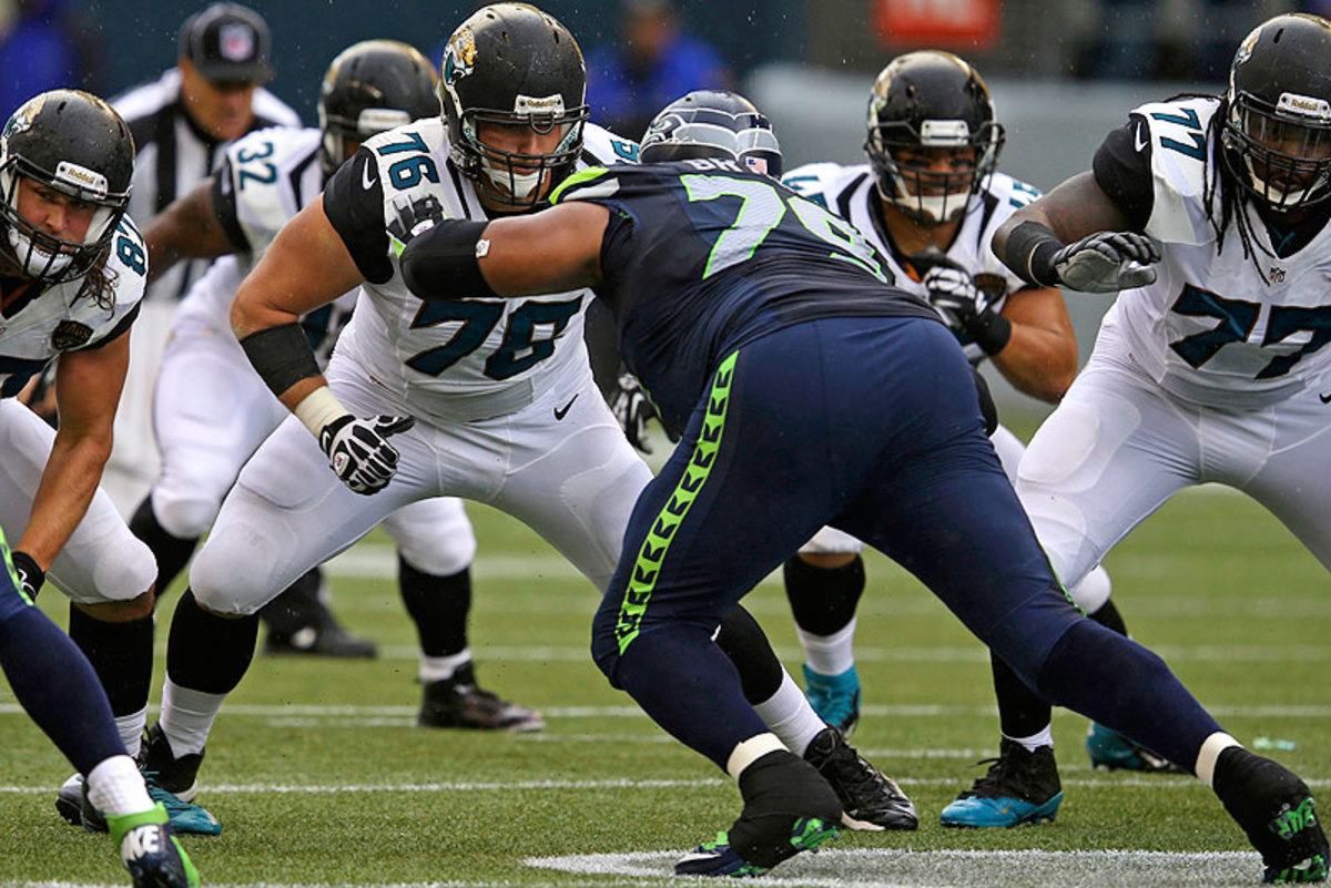 The Jaguars didn't get to see much of No. 2 overall draft pick Luke Joeckel, who was lost for the year when he fractured his ankle in Week 5. (David Seelig/AP)