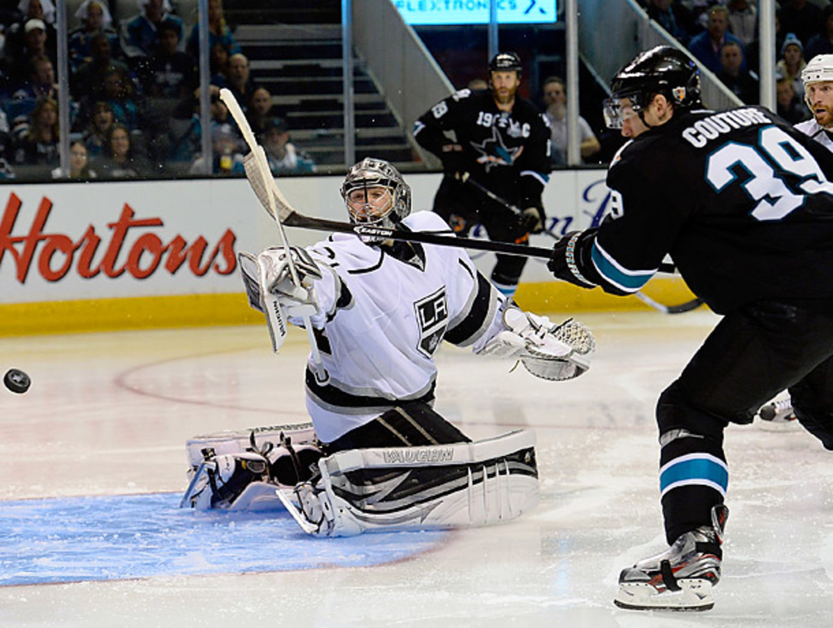 Logan Couture scored the winning goal in overtime of Game 3 to cut  the Kings' series lead down to 2-1. (Thearon W. Henderson/Getty Images)