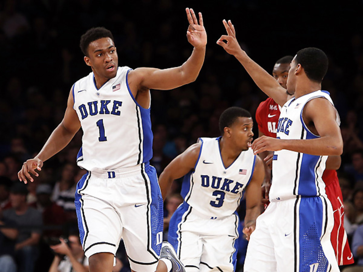 Jabari Parker (1) was masterful yet again with 27 points and eight rebounds in Duke's win over Alabama. (Jason DeCrow/AP)
